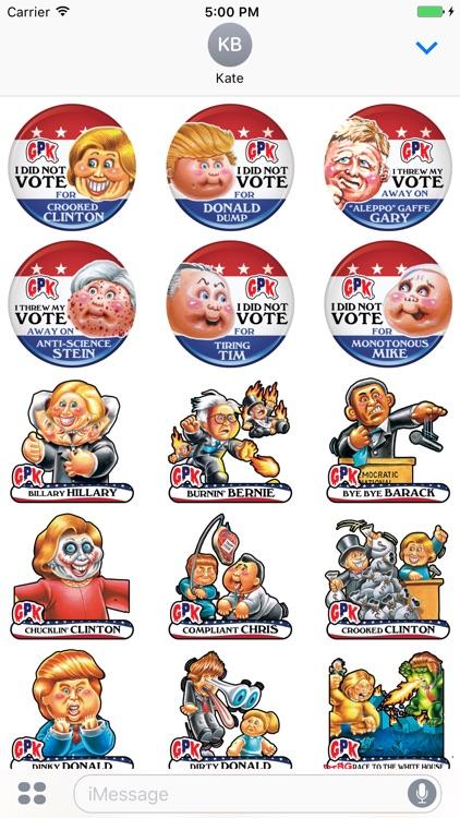 Garbage Pail Kids GPK Election Stickers