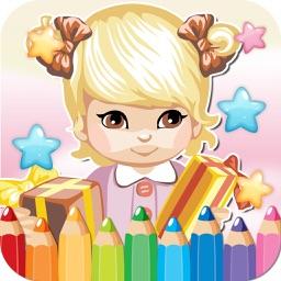 princess kids coloring book inspiration logo page