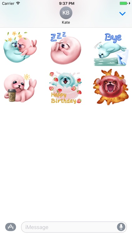 Bubble & Mint Seal Stickers for Text Messages screenshot-3