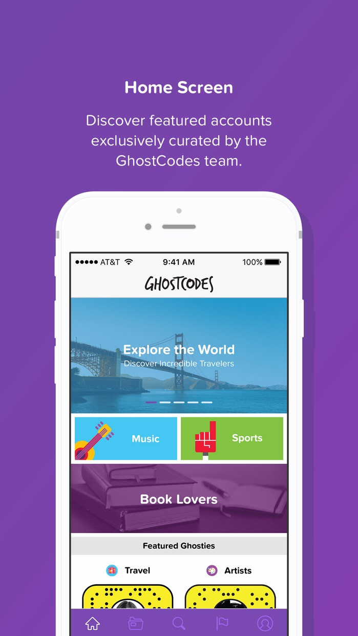 GhostCodes - a discovery app for Snapchat Screenshot