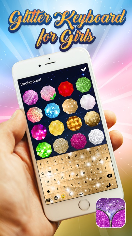 Glitter Keyboard For Girls Colorful Background Theme S