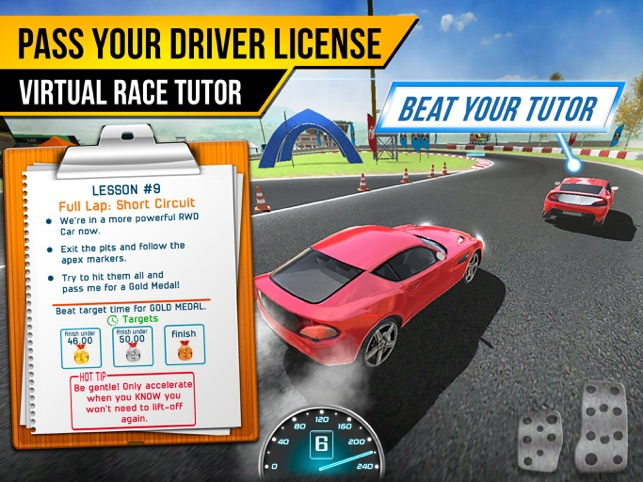 Race Driving School Car Racing Driver License Test On The