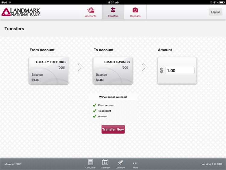 Landmark National Bank for iPad screenshot-3