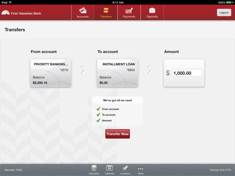 First Hawaiian Bank Mobile for iPad screenshot-3