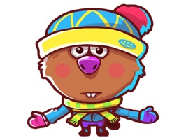 "Free and funny sticker pack with Beaver from ""Farm Frenzy and Friends"" game"