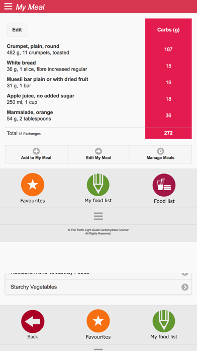 Australian CarbCounter Traffic Light Guide to Food screenshot four