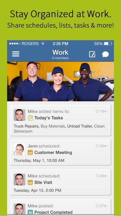 Workbase. Team Schedule Group Calendar Shared Task