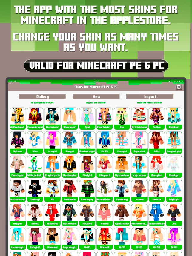 Skins For Minecraft PE PC Free Skins On The App Store - Minecraft skins girl namemc