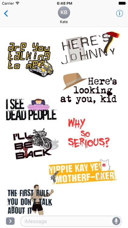 Movie Lines -Best famous quotes hollywood stickers