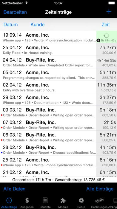 Screenshot for Time Master + Billing in Austria App Store