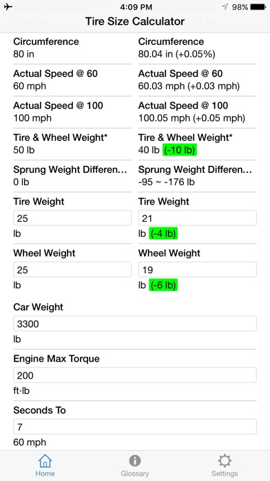 Tire Size Calculator Screenshots