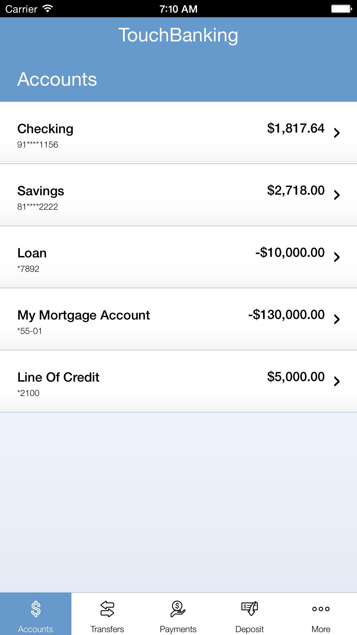 TouchBanking Screenshot