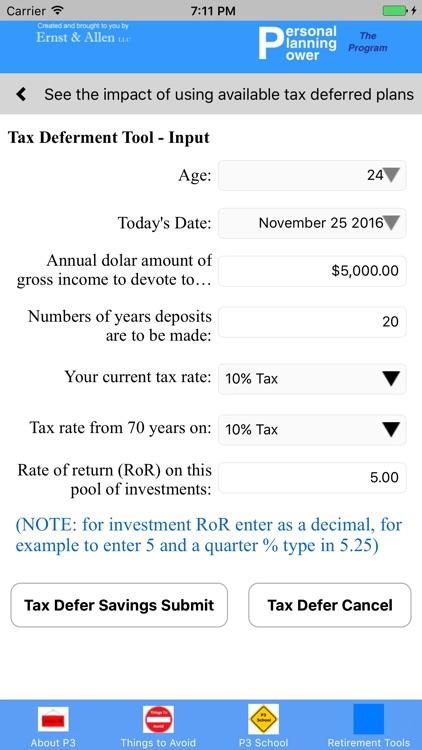 P3 Retirement Planning Tool