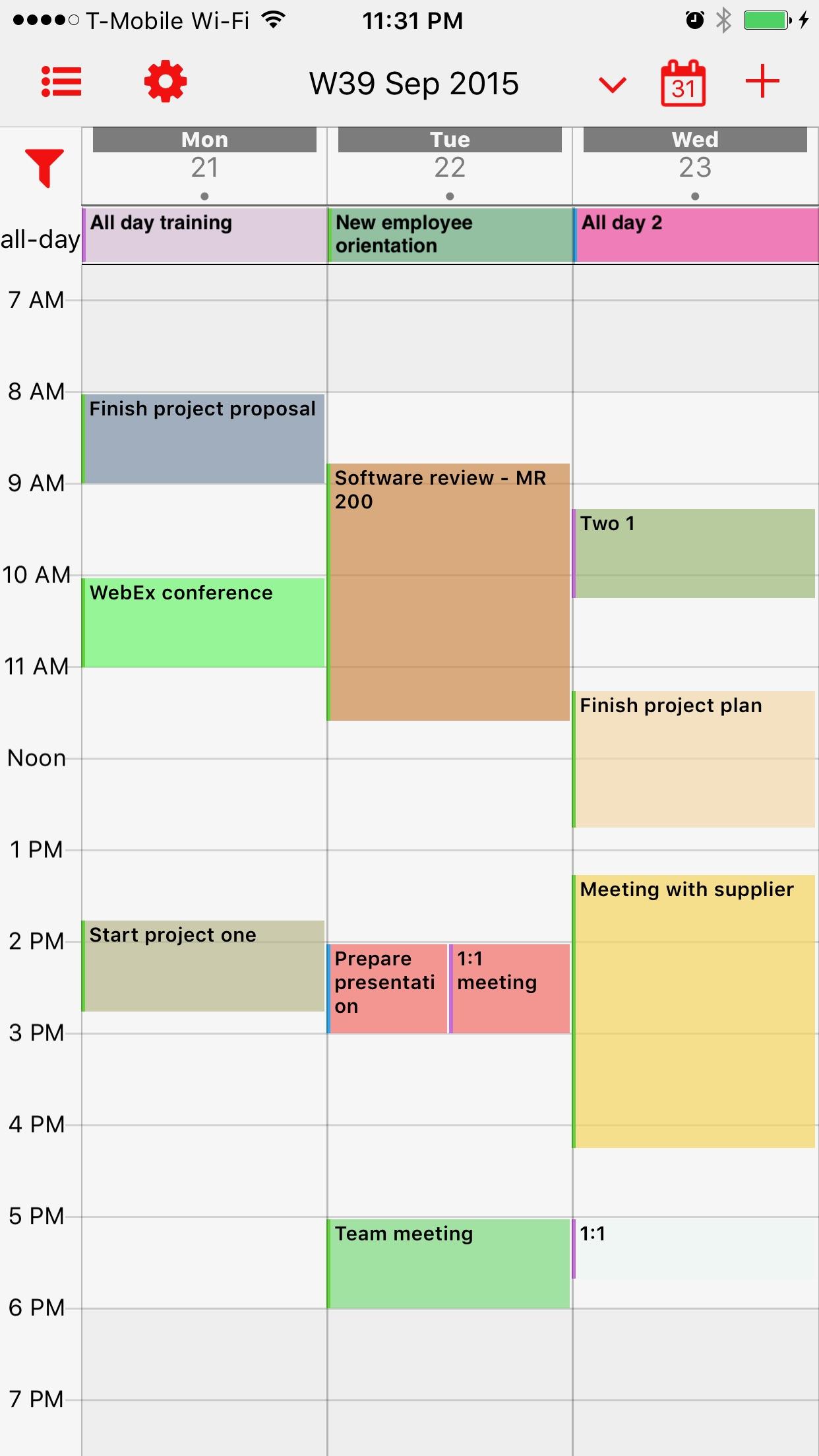 Screenshot do app Week Calendar Pro