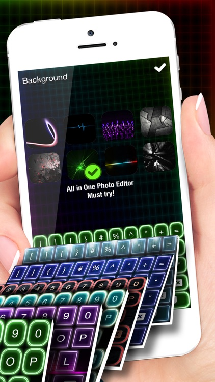 LED Keyboard Maker with Neon Backgrounds and Fonts by