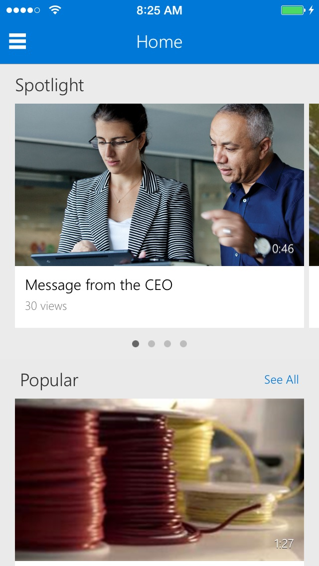 Office 365 ビデオ for iPhoneのスクリーンショット1