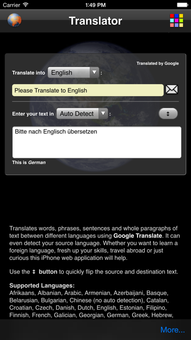 Language Translator screenshot one