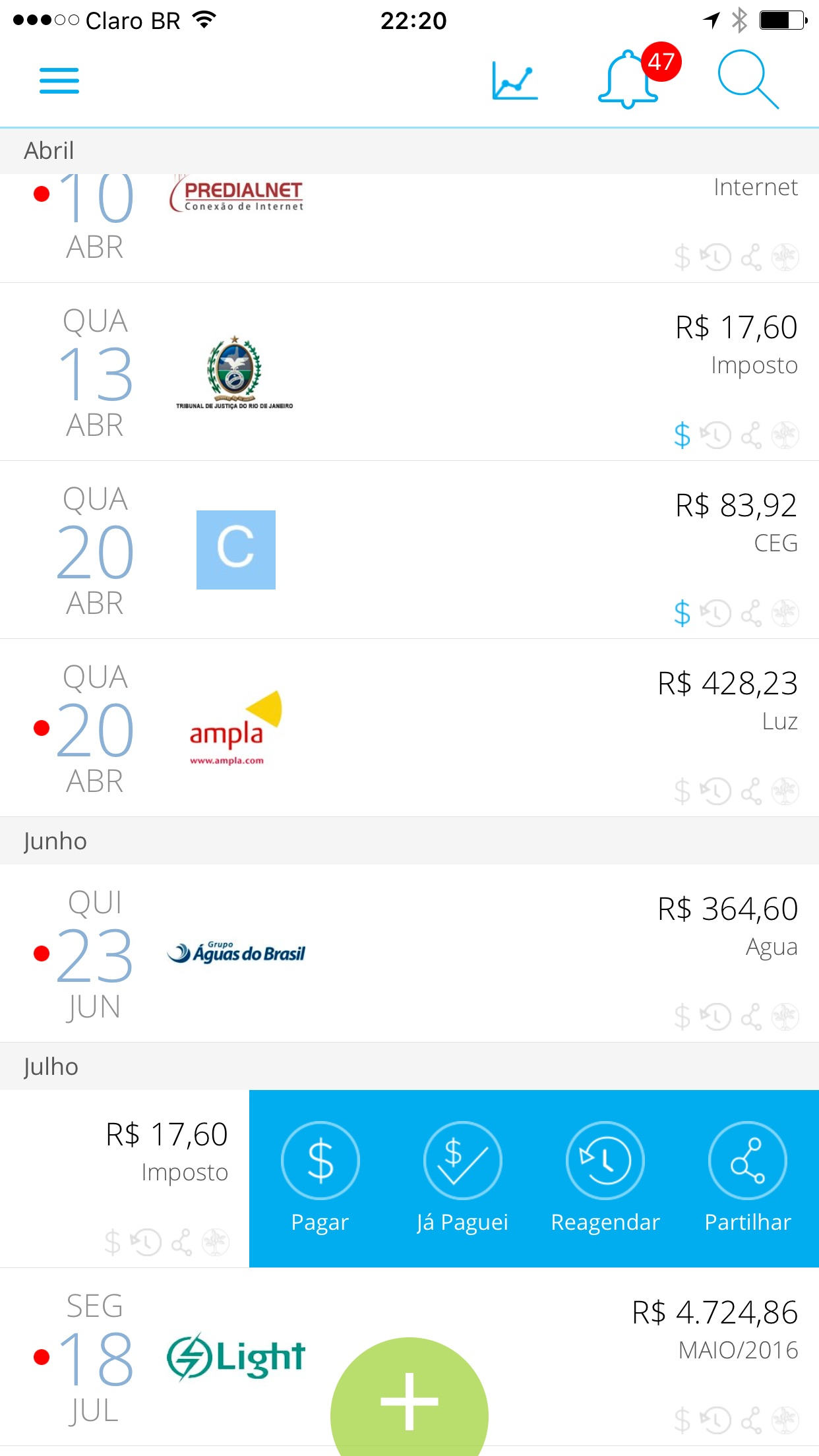 Screenshot do app papelada