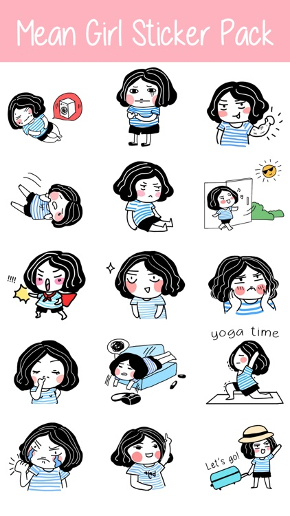 Mean Girl Sticker Pack for iMessage - Young Lady screenshot-3