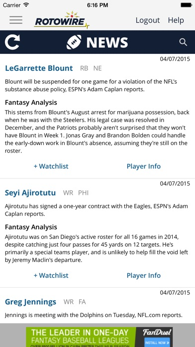 Rotowire Fantasy News Center review screenshots