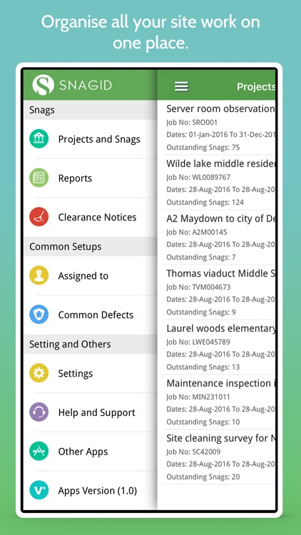SnagiD-Manage Projects, Locations, Defects, Issues