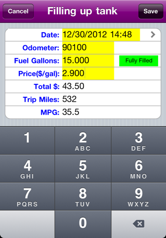 Simple MPG Tracker screenshot 1