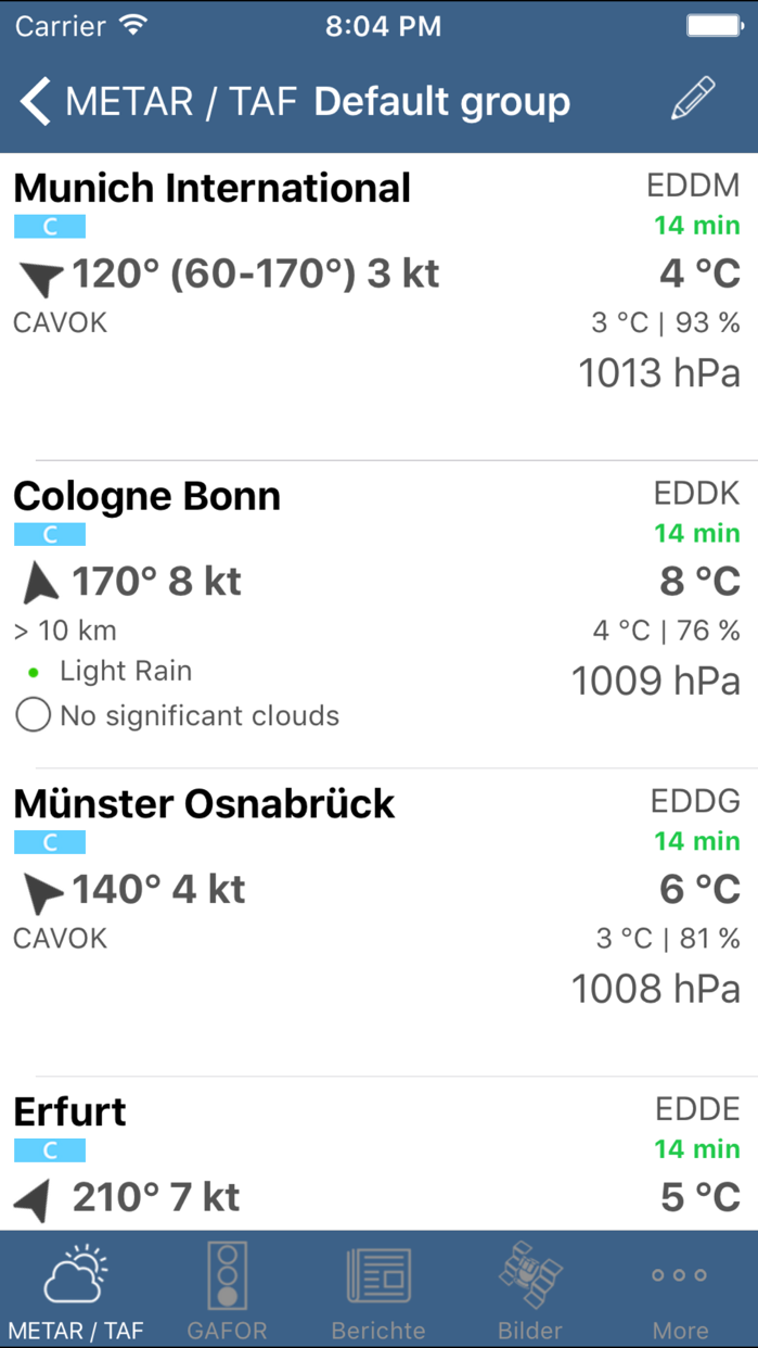 Flugwetter Screenshot