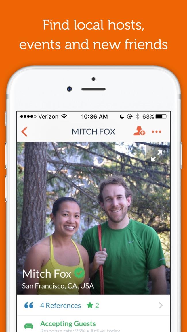 Couchsurfing Travel App Screenshot