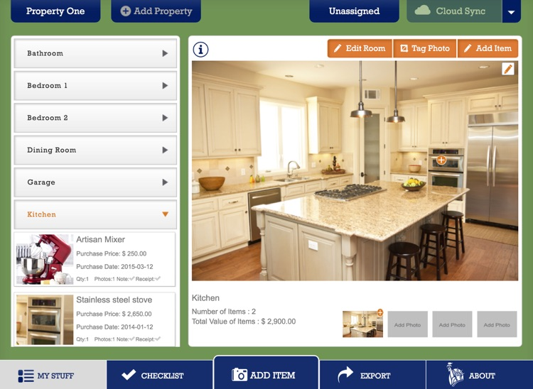 Liberty Mutual Home Gallery® - Household Inventory for iPad screenshot-3
