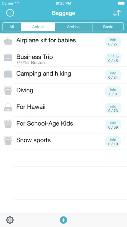 Baggage - travel packing organizer and checklist screenshot-0