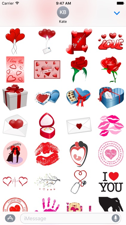Valentines Day, Love, Hearts Stickers for iMessage