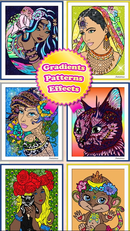 Adult Coloring Books Anti Stress Cats Pages Games! screenshot-4