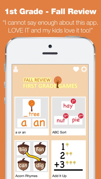 First Grade Learning Games - Fall Review App