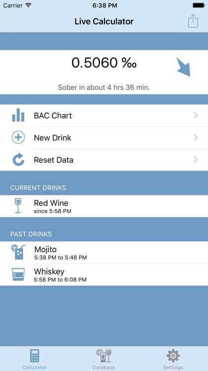 Live Blood Alcohol Content Calculator - Lite