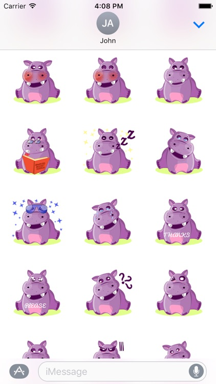 Hippo Cute Sticker screenshot-3