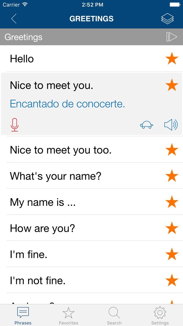 Learn Spanish Phrases Screenshot