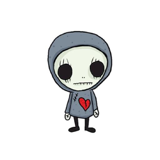 SkullGnome the Cute Grim Reaper Stickers