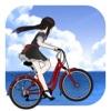 单车少女-阳光海滩