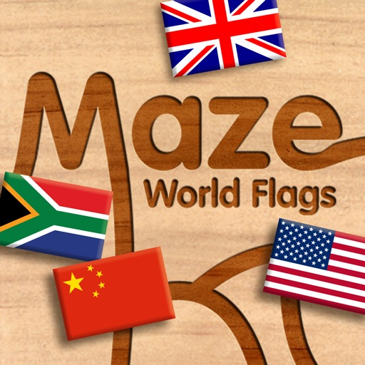 Wood Puzzle Maze World Flags icon