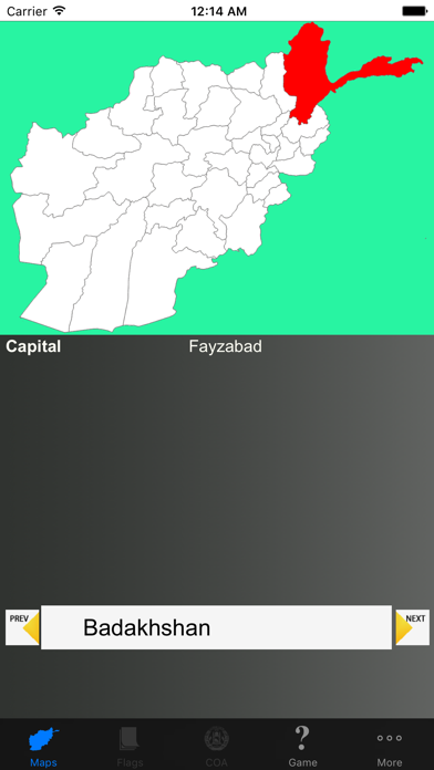 Afghanistan Province Maps and Capitals screenshot one