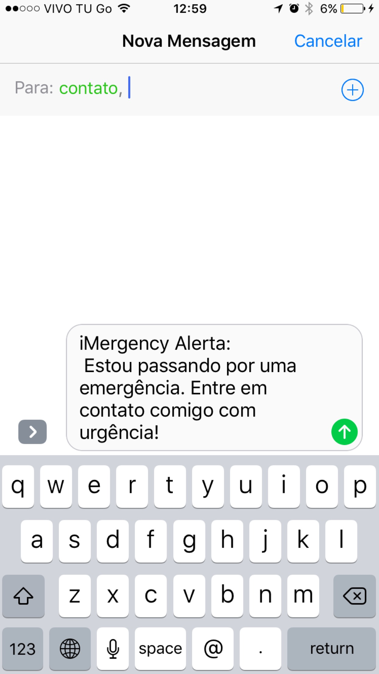 Screenshot do app iMergency