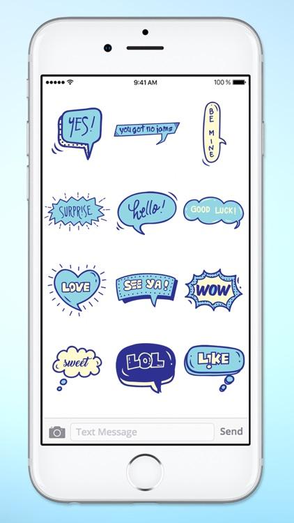 Blue Speech Bubble Words Text Sticker Pack screenshot-4