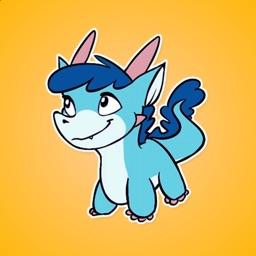 Blue Little Dragon Stickers