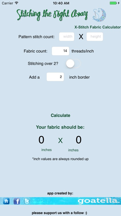 Cross Stitch Fabric Calculator Pro