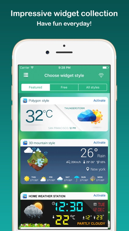 Weather Widget - Unique styles weather forecast