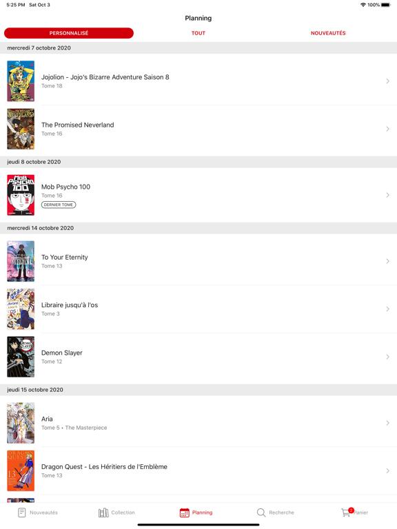 Mangacollec iPad captures décran