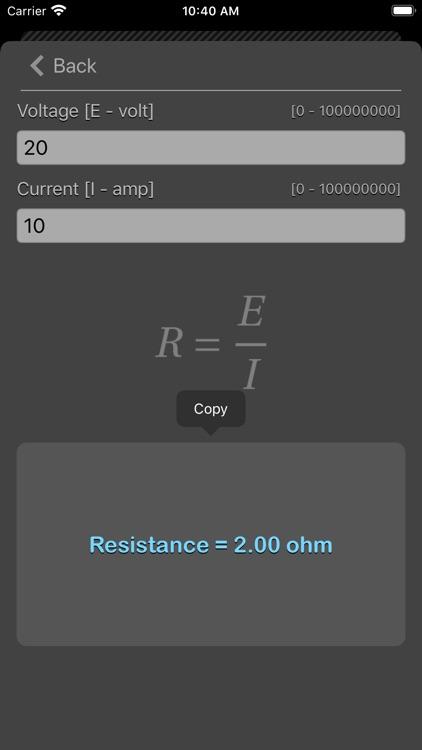 Ohm Law Calculator screenshot-3