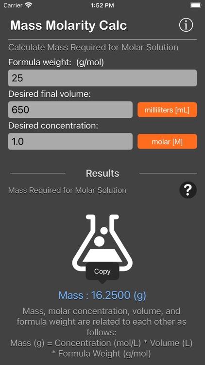 Mass Molarity Calculator screenshot-3