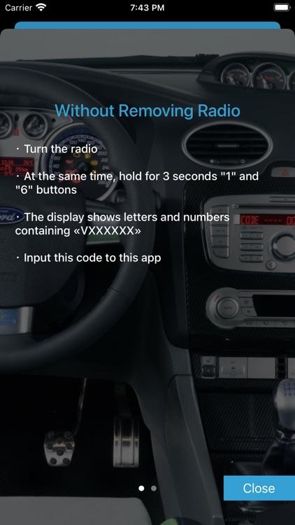 Radio Code for Ford V Serial
