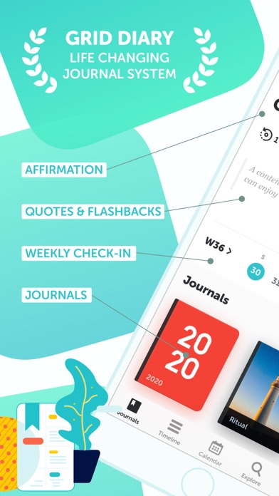 Screenshot #1 pour Grid Diary - Journal, Planner